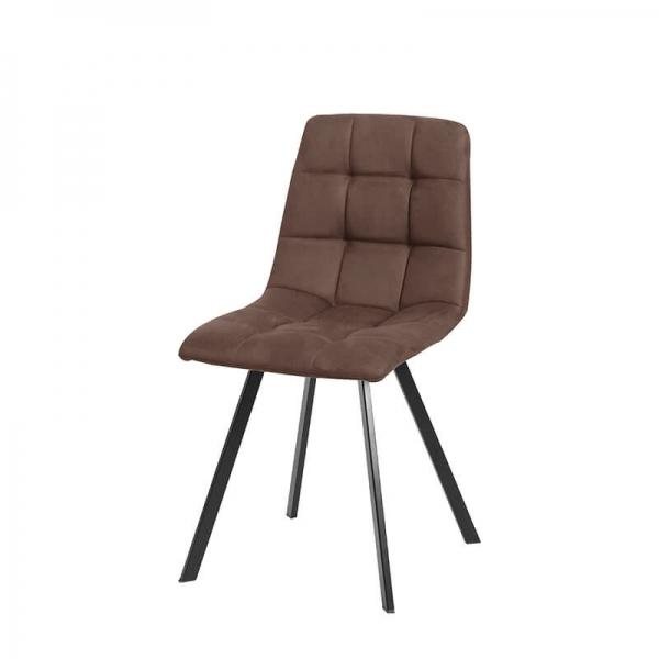 Chaise rembourrée et matelassée marron style moderne - Carvi - 19