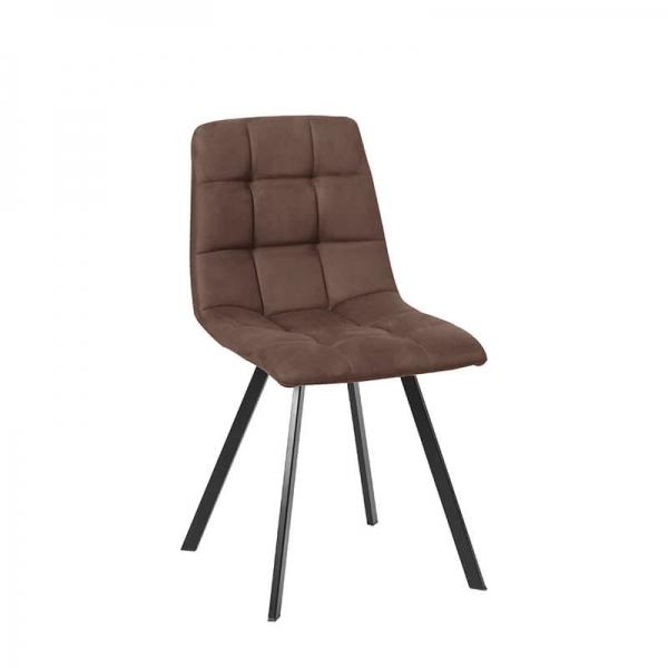 Chaise matelassée marron avec pieds en métal noir  - Carvi - 18
