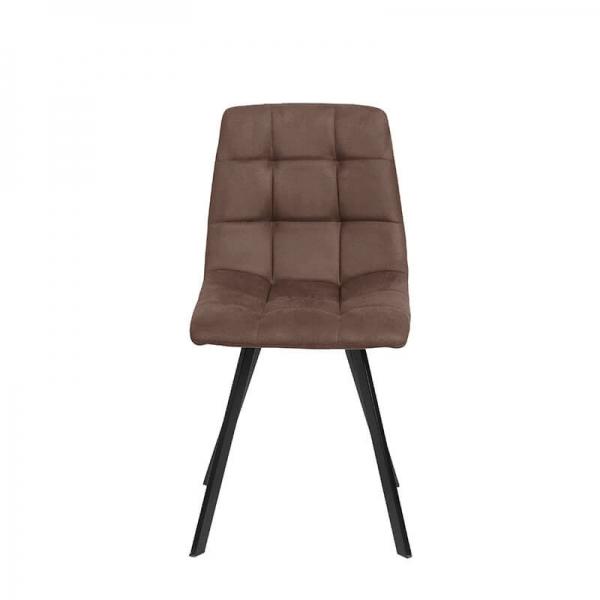 Chaise moderne matelassée marron avec pieds en métal noir - Carvi - 20