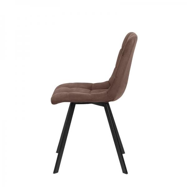 Chaise tendance matelassée marron avec pieds en métal noir  - Carvi - 23