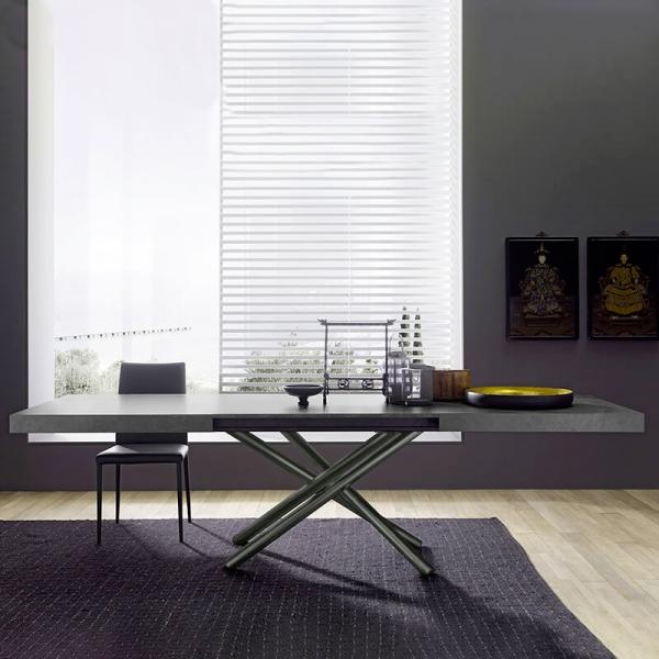 Table avec allonges made in Italie avec pied mikado chromé - Fahrenheit - 2