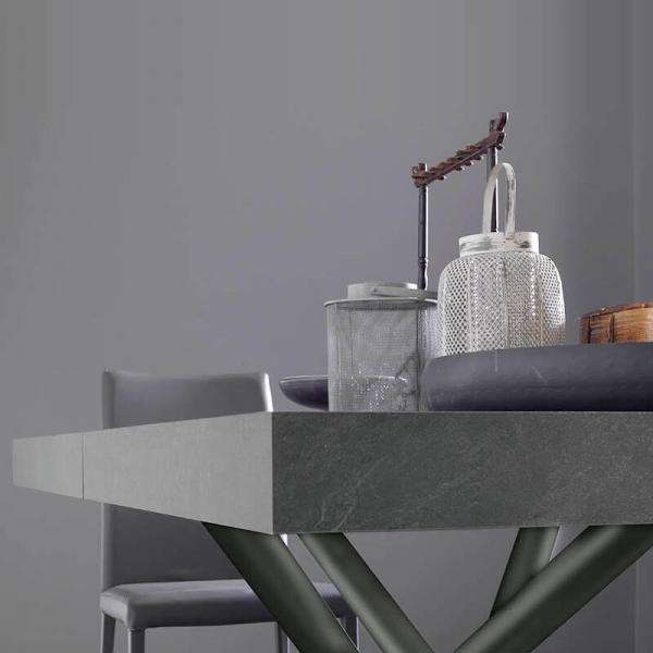 Table extensible plateau gris et pieds chromés - Fahrenheit - 4