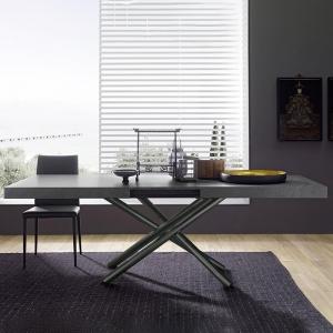 Table extensible design de fabrication italienne en mélaminé gris - Fahrenheit