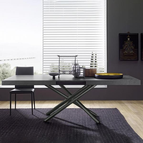 Table extensible design de fabrication italienne en mélaminé gris - Fahrenheit - 1