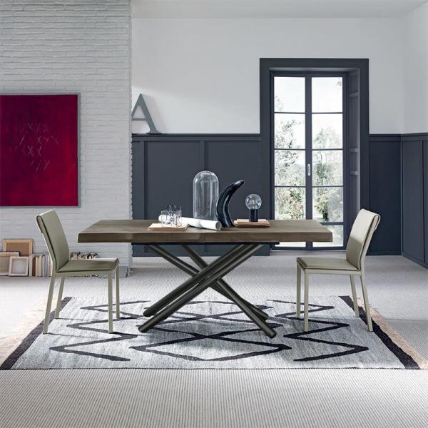 Table en bois design italien extensible avec pied mikado -Fahrenheit - 3
