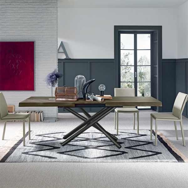 Table extensible design italien rectangulaire avec pied mikado - Fahrenheit - 1