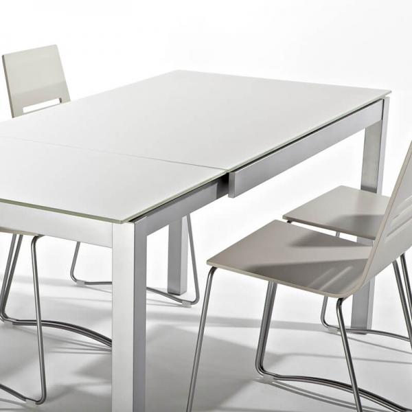 Table de cuisine crème petit espace en verre avec allonge - Céleste - 2