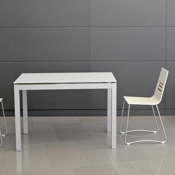 Table de cuisine blanche petit espace en verre avec allonge - Céleste - 3