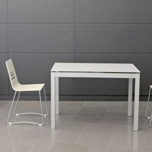 Table de cuisine petit espace en verre avec allonge - Céleste