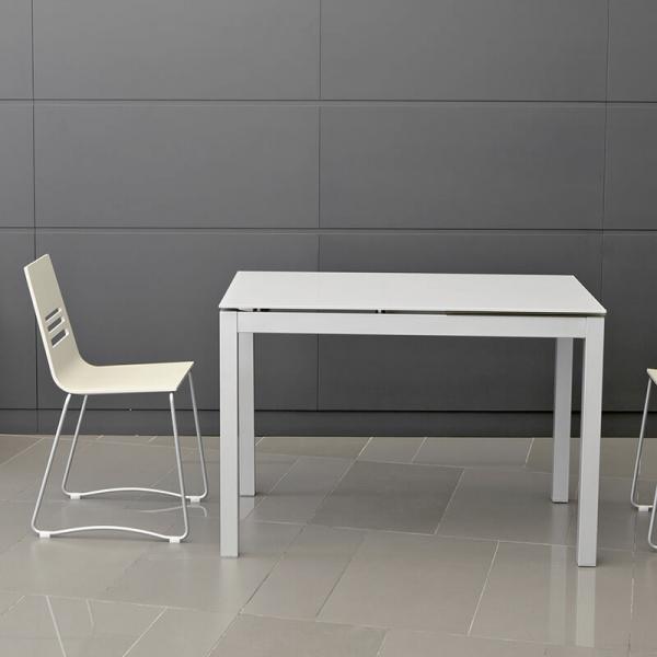 Table de cuisine petit espace en verre avec allonge - Céleste - 1