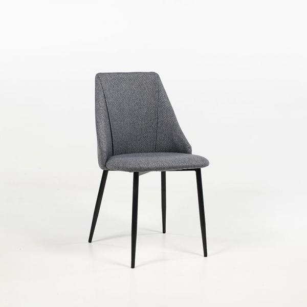 Chaise en métal confortable revêtement tissu gris foncé - Salt - 8