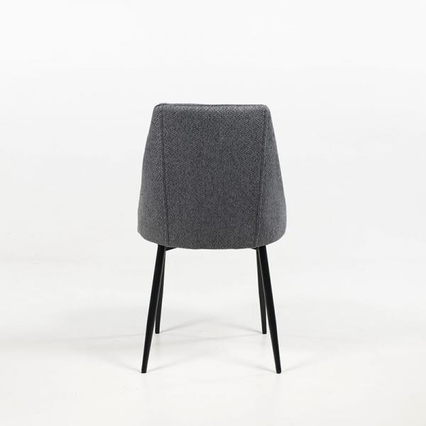 Chaise métallique moderne en tissu gris foncé - Salt - 12