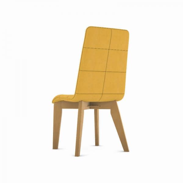 Chaise française en tissu moutarde et pieds bois - Zao - 3