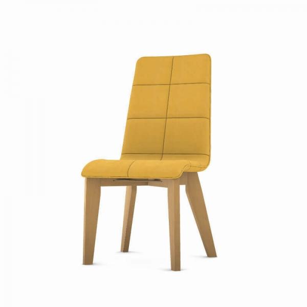 Chaise moutarde en bois et tissu fabrication française - Zao - 2
