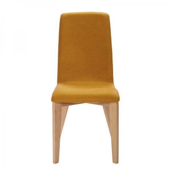Chaise française en tissu moutarde et pieds bois - Yam Eco - 3