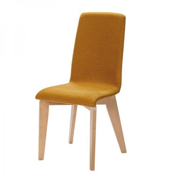 Chaise en tissu jaune avec pieds bois fabrication française - Yam Eco - 2