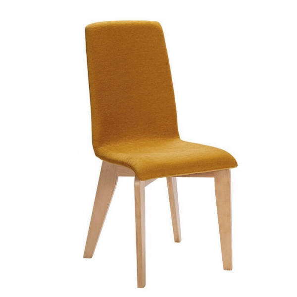 Chaise made in France tissu moutarde et pieds bois - Yam Eco - 1