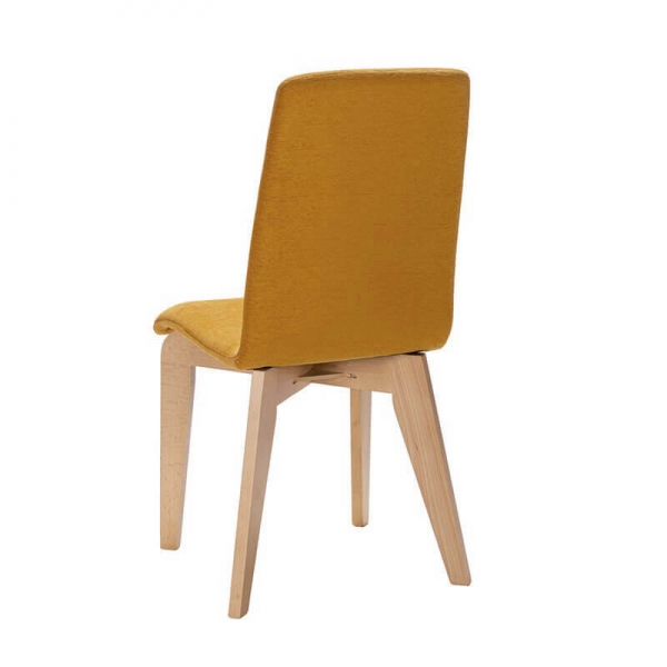 Chaise en bois et tissu jaune fabrication française - Yam Eco - 4