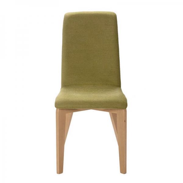 Chaise française avec pieds en bois et tissu vert - Yam Eco - 7