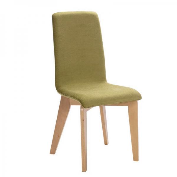 Chaise française en tissu vert et pieds bois - Yam Eco - 5