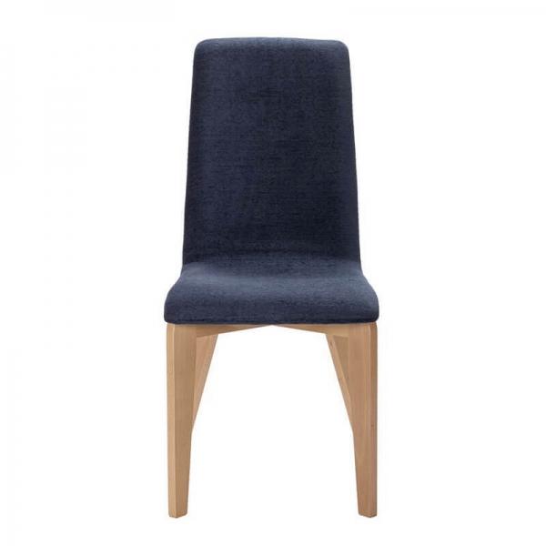 Chaise made in France revêtement en tissu bleu et pieds bois - Yam Eco - 11
