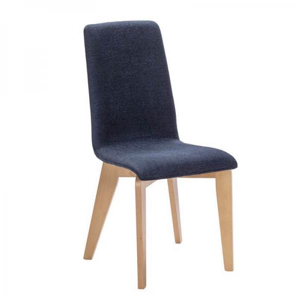 Chaise française en tissu bleu et pieds bois - Yam Eco - 9