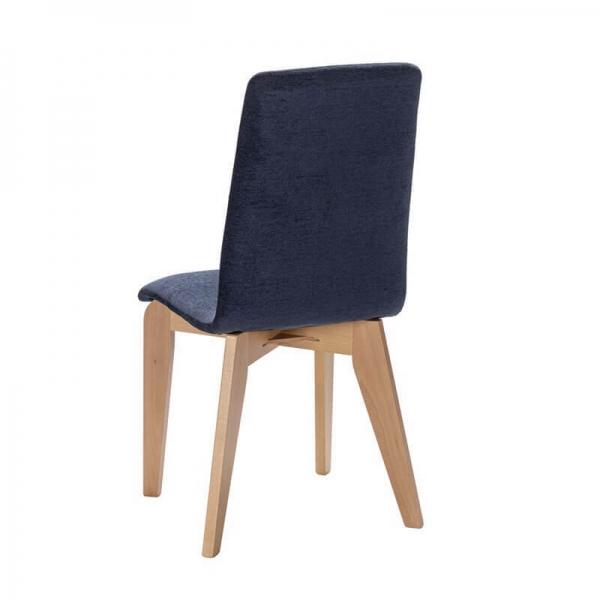 Chaise française en tissu bleu et pieds bois - Yam Eco - 12