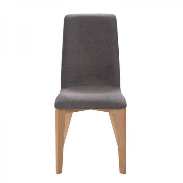 Chaise de fabrication française en tissu gris et piétement bois - Yam Eco - 15