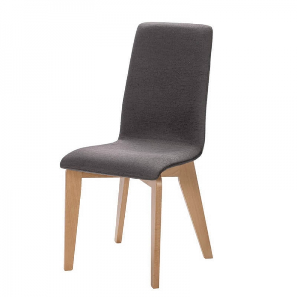 Chaise française assise grise en tissu et pieds bois - Yam Eco - 14