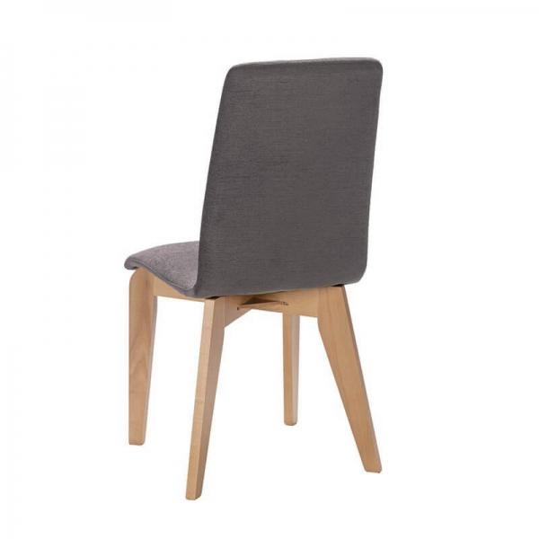 Chaise made in France en bois et assise en tissu gris - Yam Eco - 16