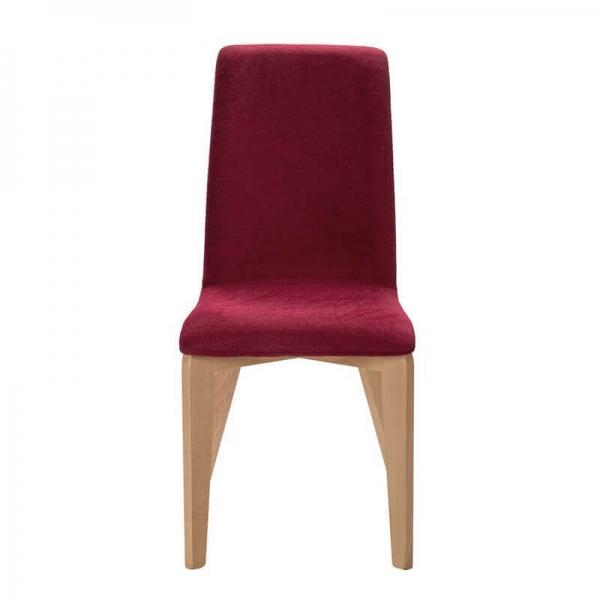 Chaise rouge en tissu avec pieds en bois française - Yam Eco - 19