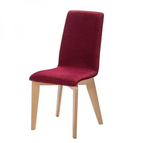 Chaise en tissu rouge et pieds bois fabrication française - Yam Eco - 18