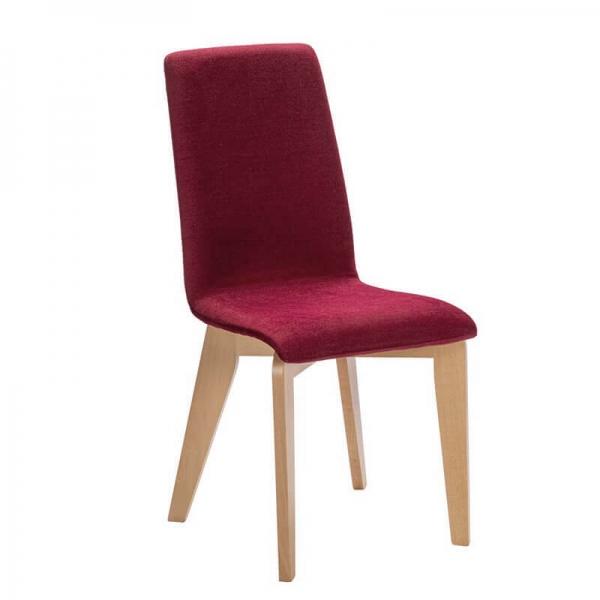 Chaise française en bois et assise en tissu rouge - Yam Eco - 17