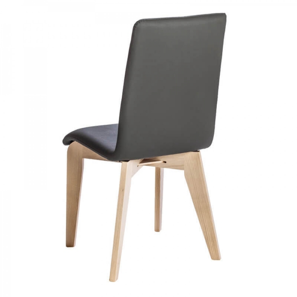 Chaise noire en synthétique et bois fabrication française - Yam Eco - 4