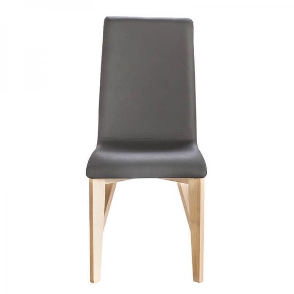 Chaise en synthétique noir avec pieds bois française -  Yam Eco - 3