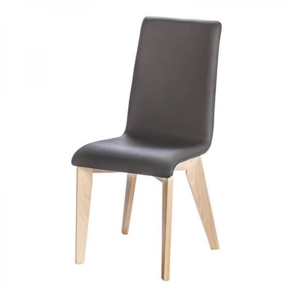 Chaise française en synthétique noir et pieds bois - Yam Eco - 2