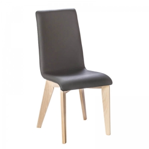 Chaise made in France en synthétique noir et bois - Yam Eco