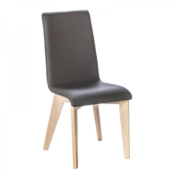 Chaise made in France en synthétique noir et bois - Yam Eco - 1