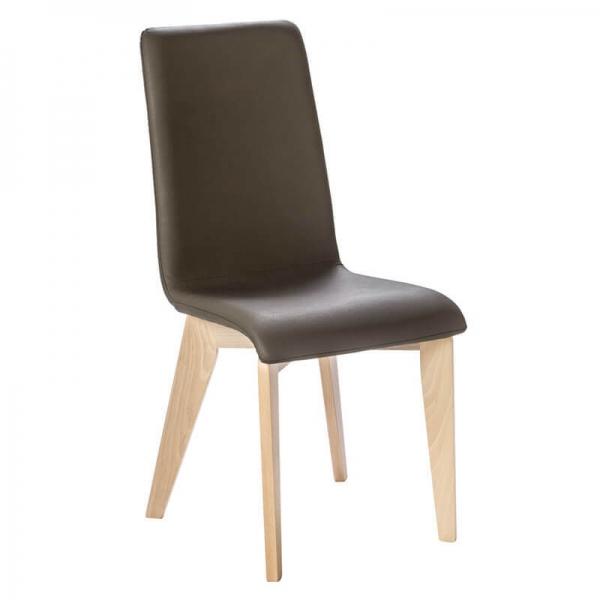 Chaise française piétement en bois massif et assise synthétique - Yam Eco - 10