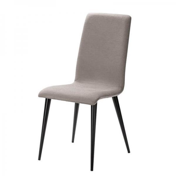 Chaise fabrication française en tissu gris et pieds métal - Yam Eco - 10