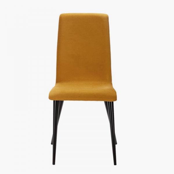 Chaise française en tissu moutarde et pieds métal - Yam Eco - 15
