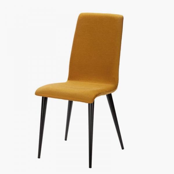 Chaise moutarde en métal et tissu française - Yam Eco - 14