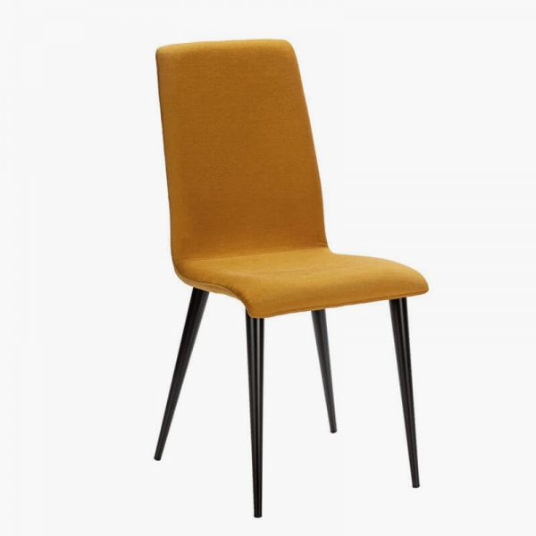 Chaise en tissu jaune avec pieds métal made in France - Yam Eco - 13
