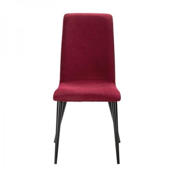 Chaise fabrication France en tissu rouge et pieds métal - Yam Eco - 19