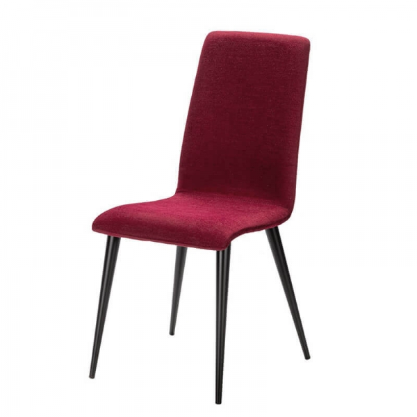 Chaise rouge rubis avec pieds métal fabrication France - Yam Eco - 18