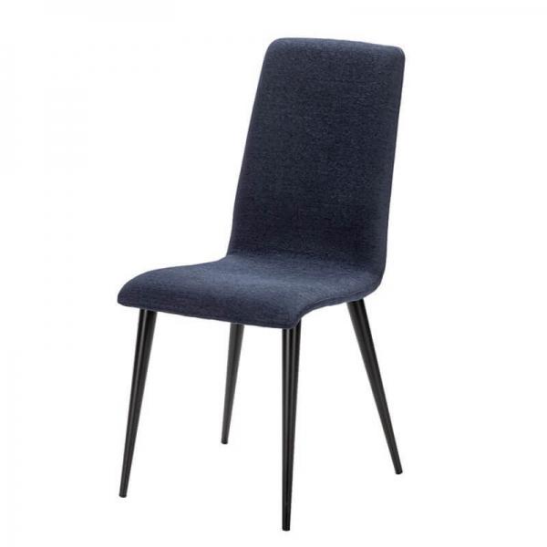 Chaise made in France avec assise tissu bleu et pieds métal - Yam Eco - 22