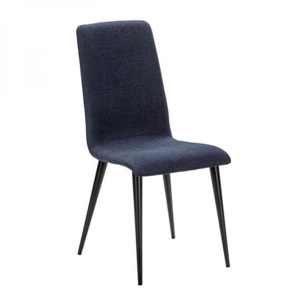 Chaise en tissu bleu et pieds métal made in France - Yam Eco - 21