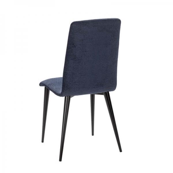 Chaise française en tissu bleu avec pieds en métal - Yam Eco - 24