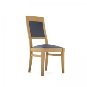 Chaise en bois française avec assise synthétique - Vintage