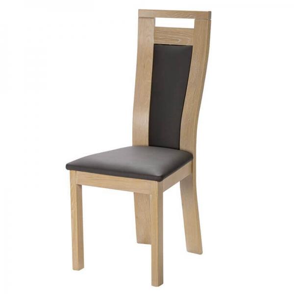 Chaise française en bois massif et revêtement synthétique - Lizo - 2